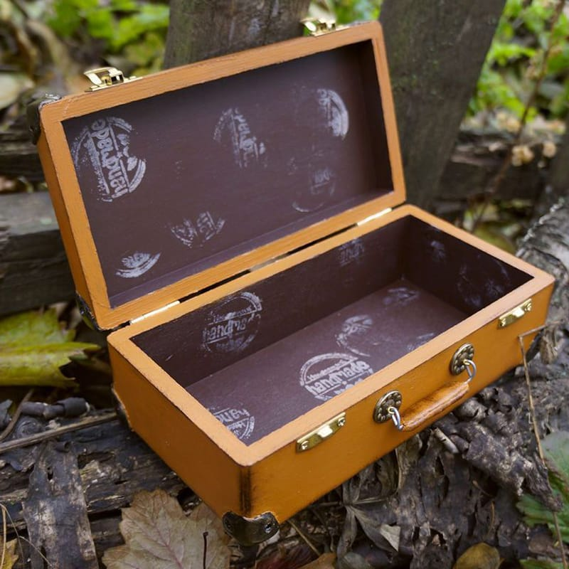 Унисекс купюрница из дерева ручной работы в подарок Old Suitcase