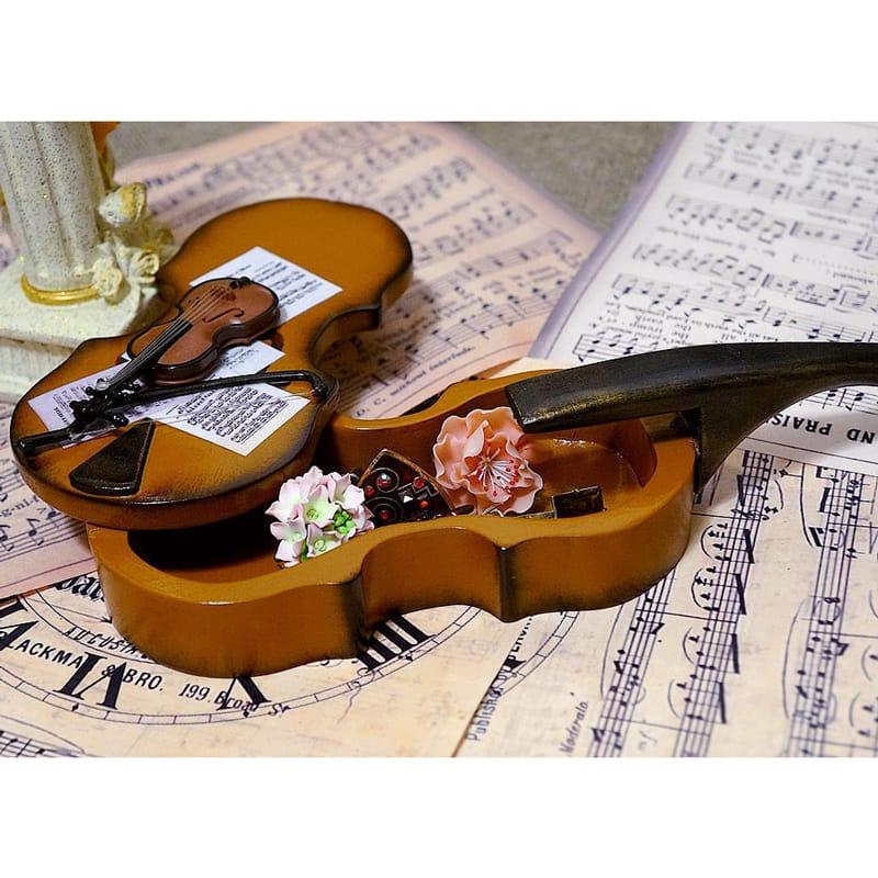 Авторская шкатулка из дерева ручной работы в подарок Violin