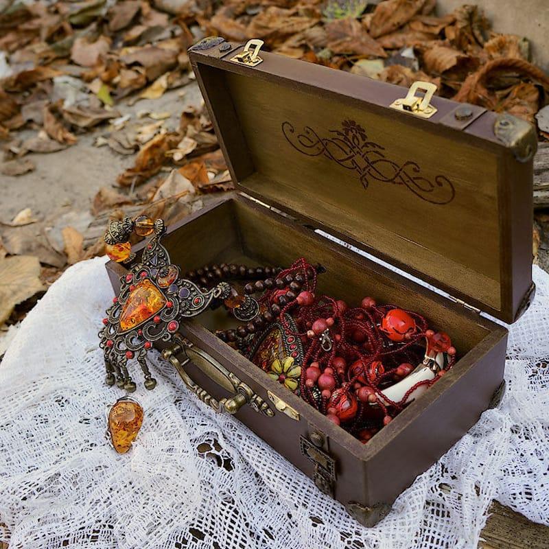 Дизайнерская шкатулка из дерева в подарок Retro Sac