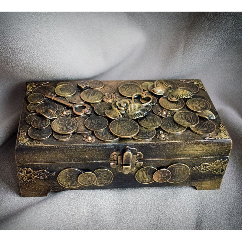 Шкатулка-купюрница в подарунок Золота Гривня