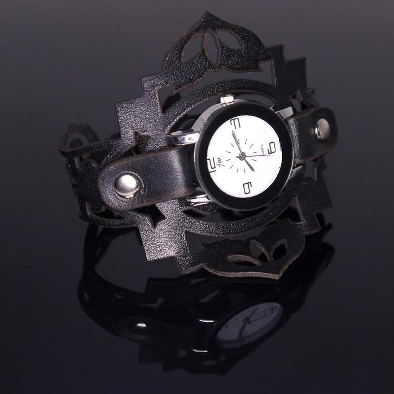 Женские часы в подарок Black Queen leather