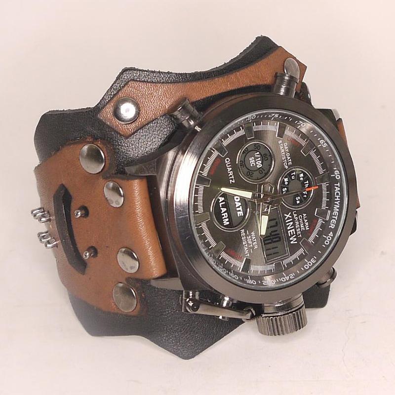 Часы мужские для подарка Aviator Brown Leather