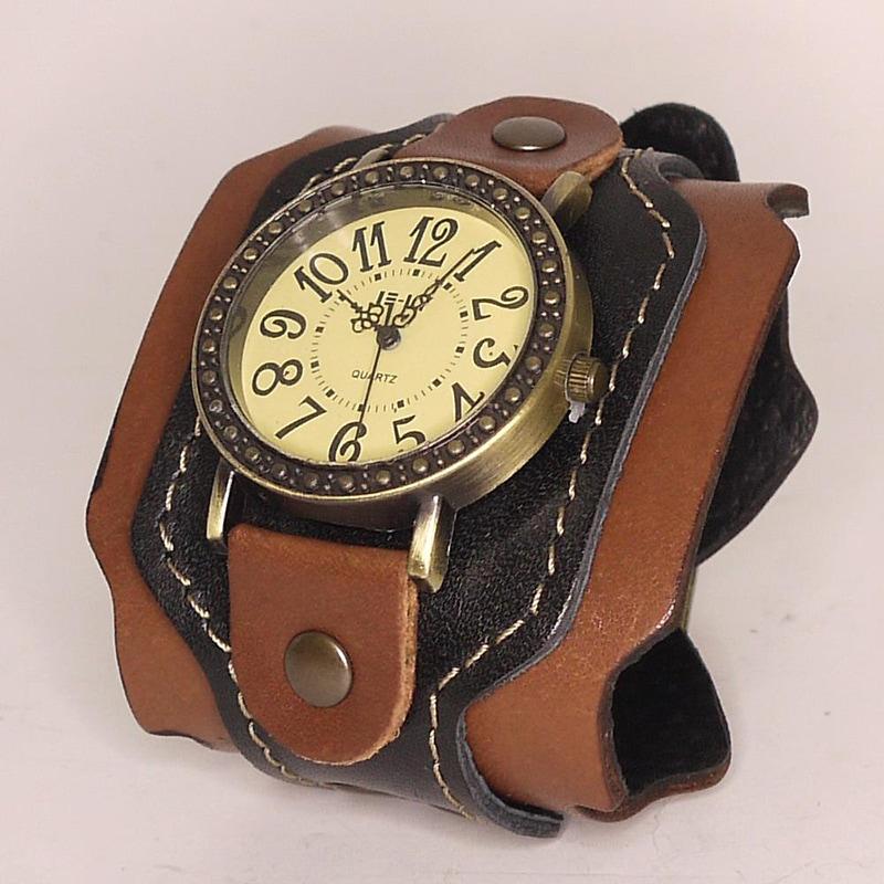Авторські чоловічі годинники Brown Leather Retro