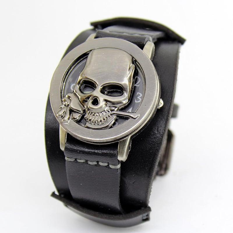 Годинник з шкіряним браслетом Rose Skeleton