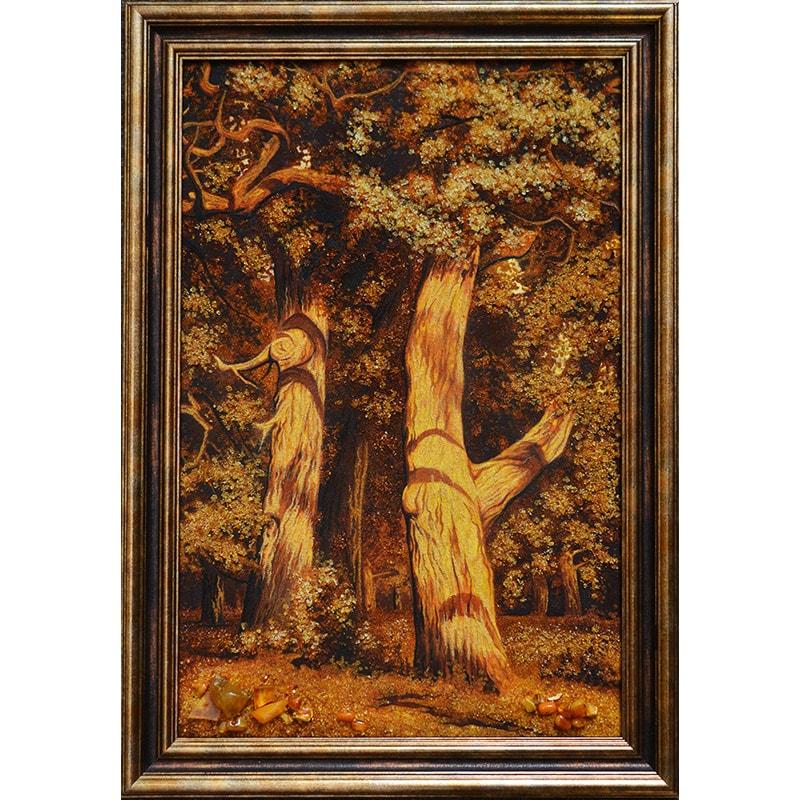 Картина из янтаря в подарок Иван Шишкин Дубы