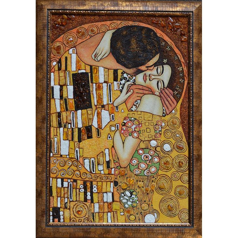 Картина из янтаря Киев Густав Климт Поцелуй