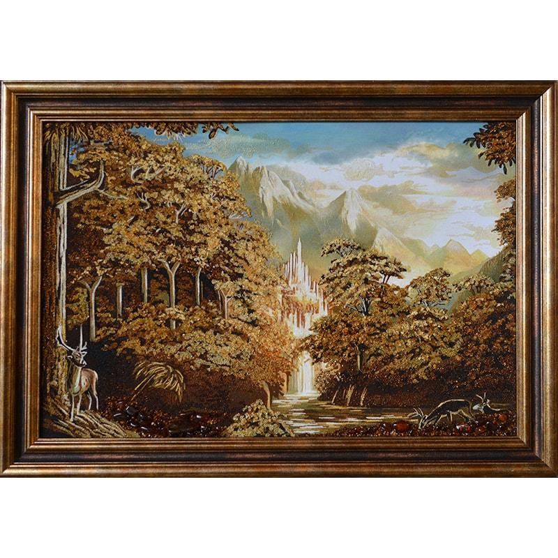 Картина из янтаря в подарок Снежные вершины