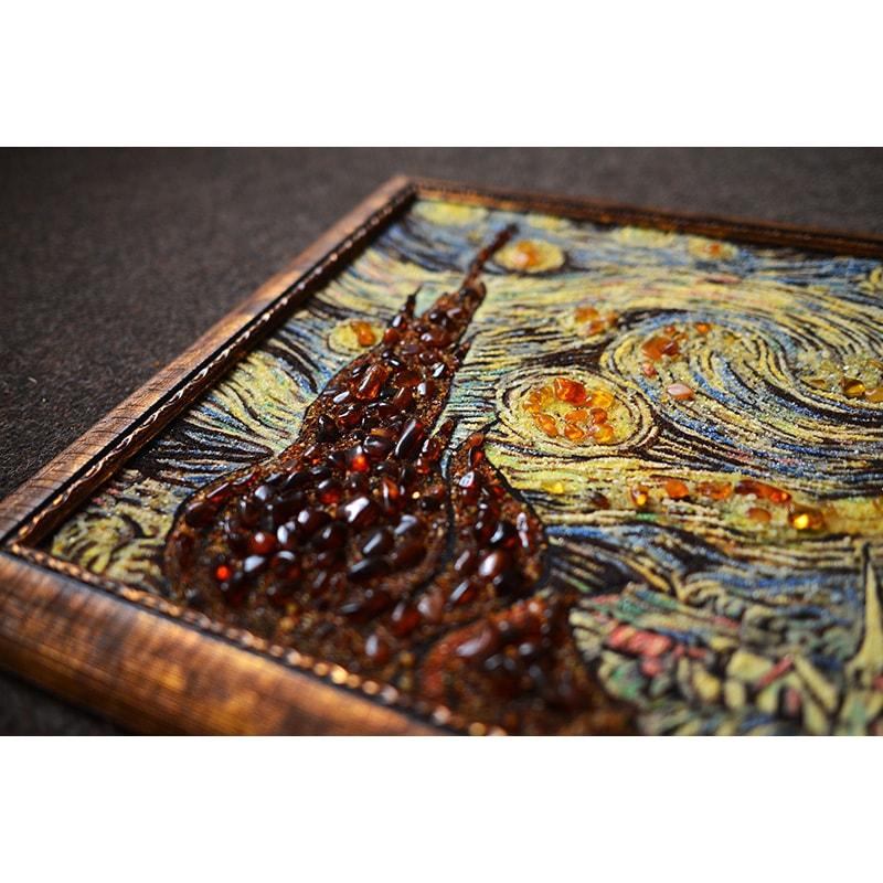 Картина с янтарем в подарок Ван Гог Звездная ночь