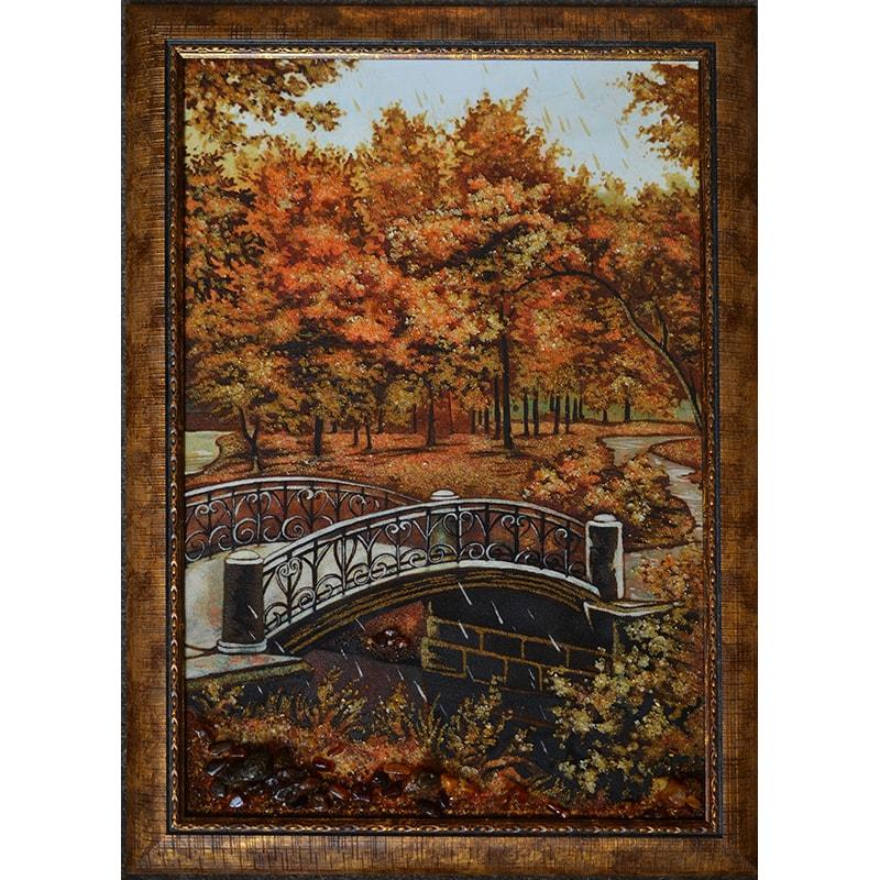 Авторская картина из янтаря Киев Осенний парк