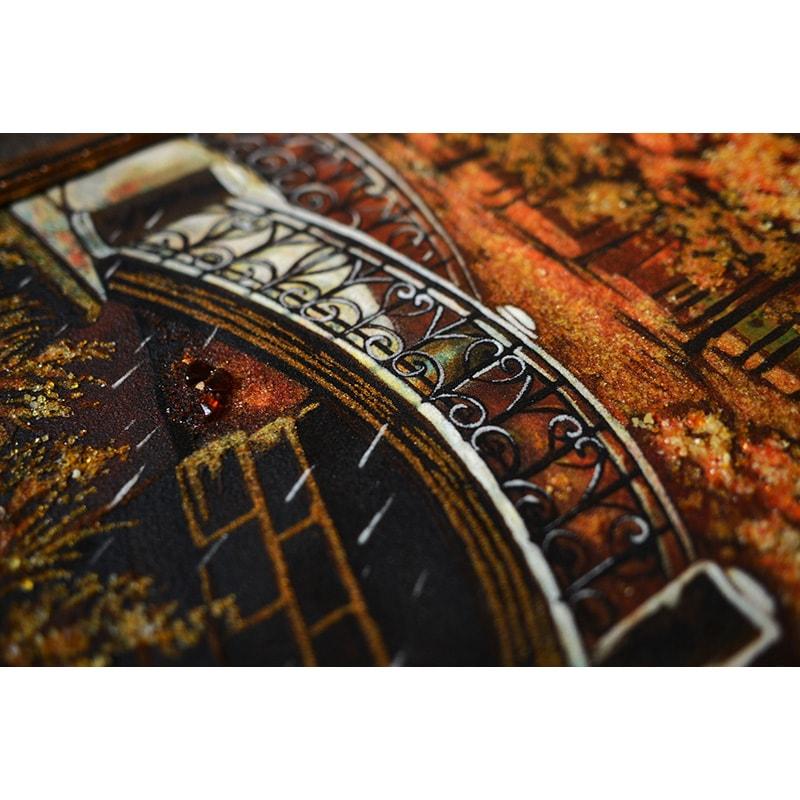 Авторська картина з бурштину Київ Осінній парк