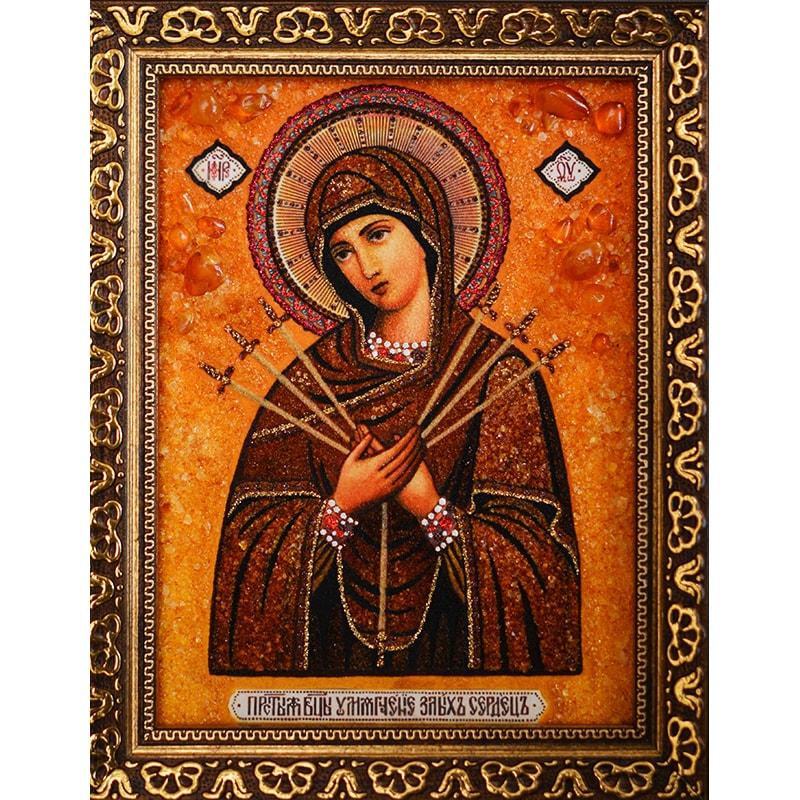 Ікона з янтаря Божа Матір Пом'якшення злих сердець