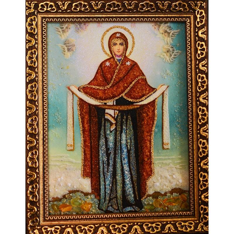 Икона из янтаря в подарок Богородица Покрова
