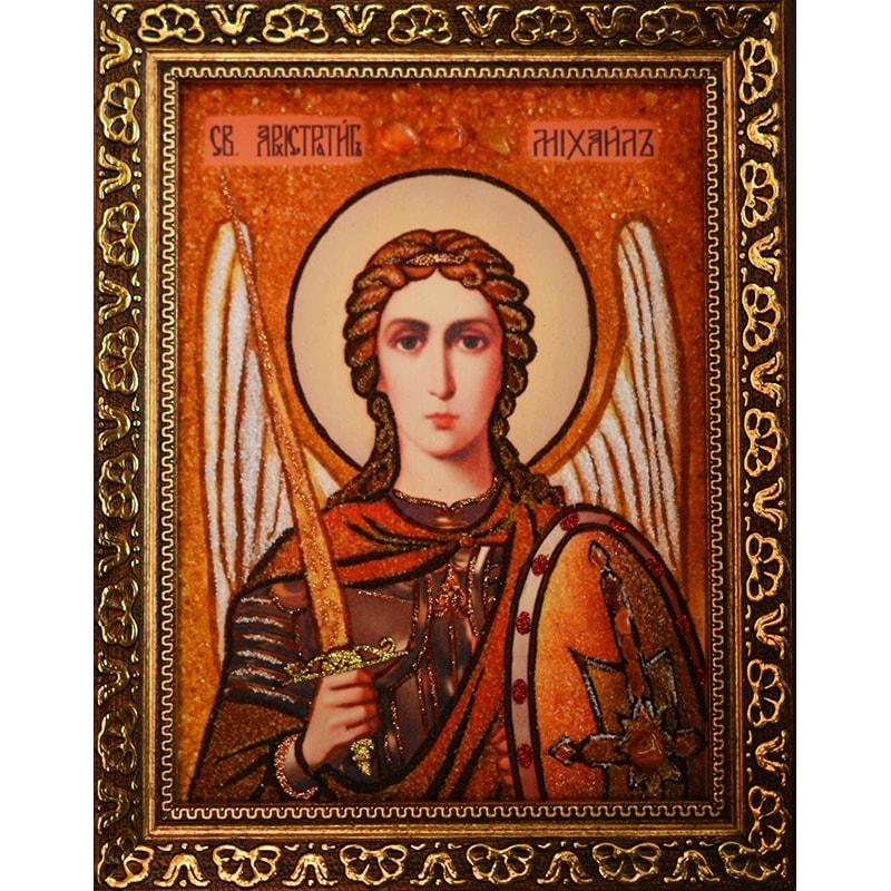 Икона с янтарем Святой Архангел Михаил