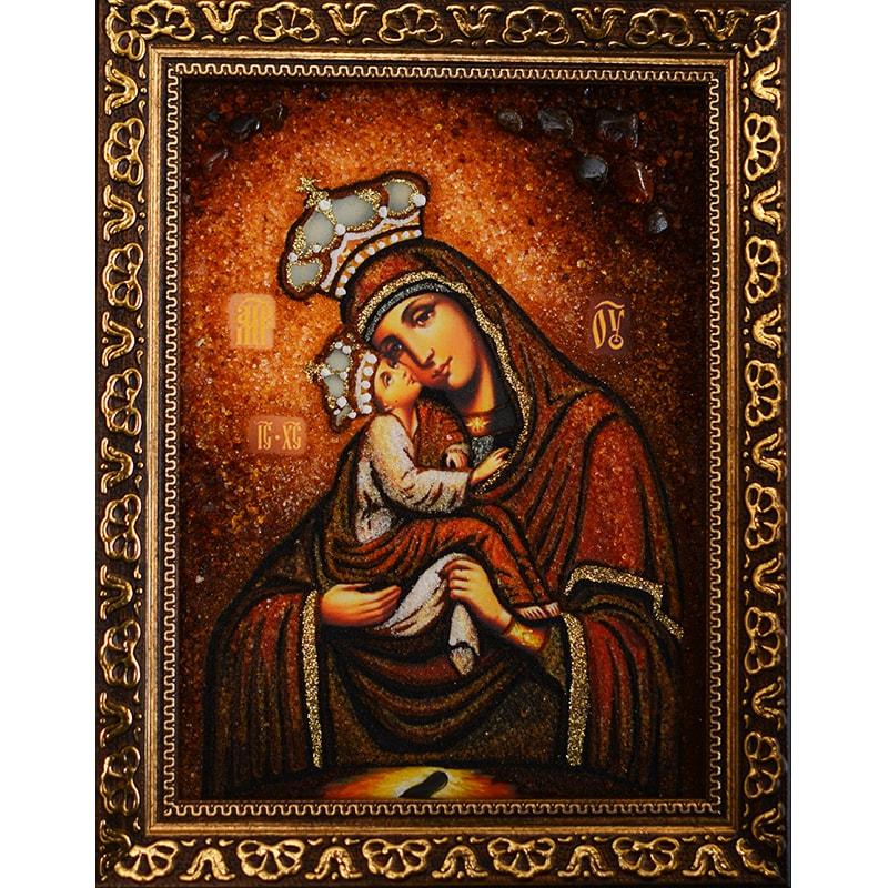 Авторська ікона з янтаря Почаївська Богоматір