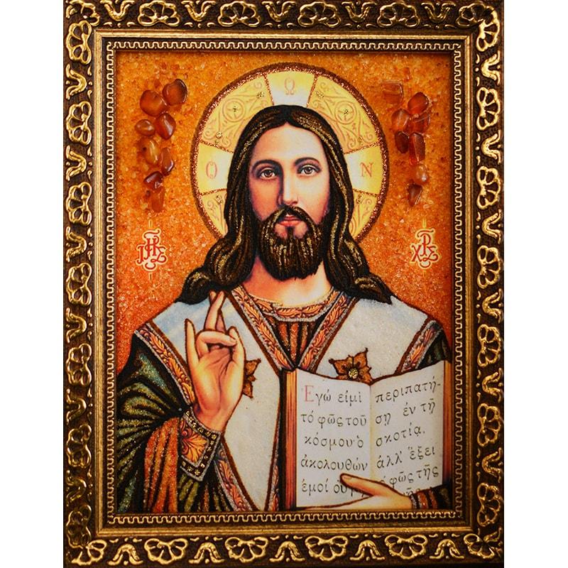 Икона из янтаря Спас Вседержитель