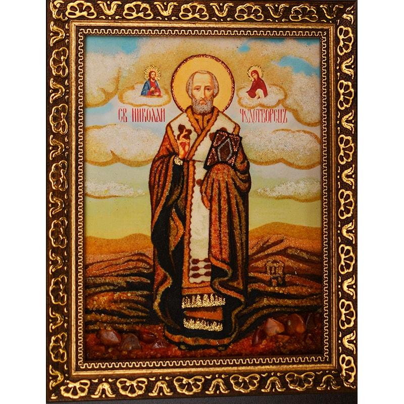 Икона с янтарем Святой Николай Чудотворец