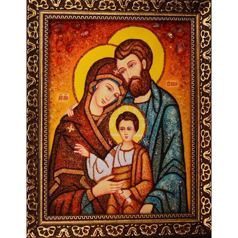 Икона с янтарем Святое Семейство
