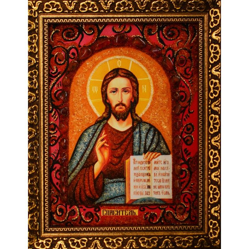 Икона с янтарем Спас Вседержитель