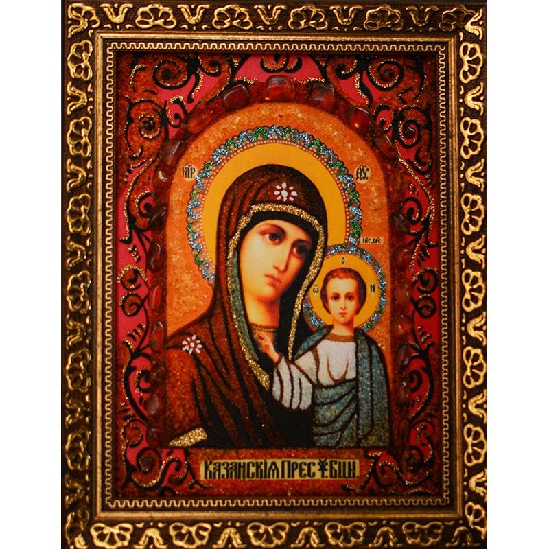 Уникальная икона из янтаря Казанская Богородица