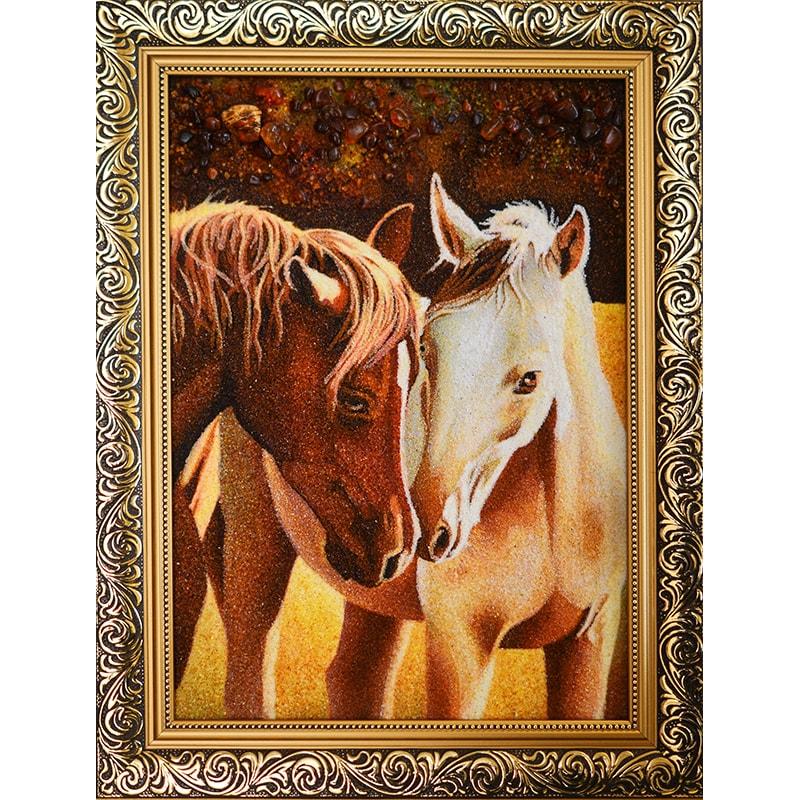 Картина из янтаря Мариан Кашуба Лошади