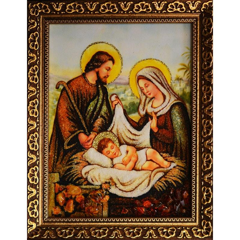 Икона из янтаря в подарок на свадьбу Святое Семейство