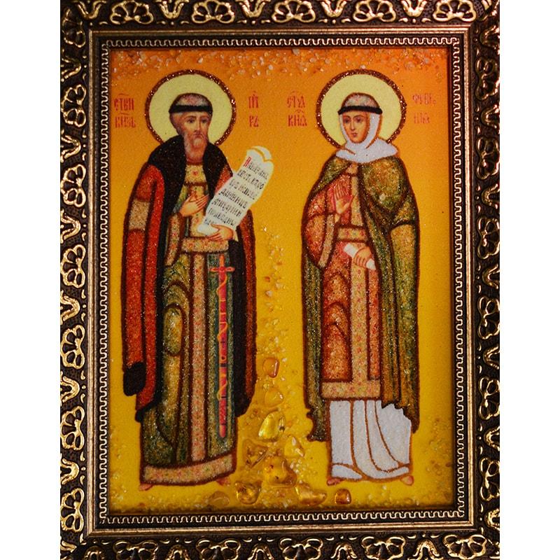 Икона из янтаря Петр и Феврония