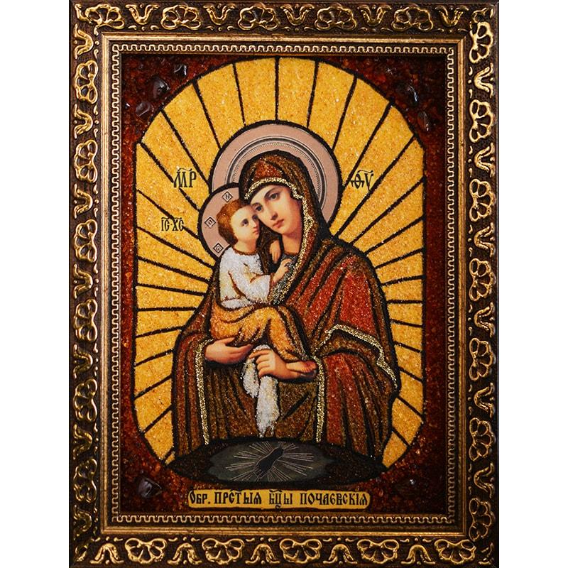 Икона из янтаря в подарок Почаевская Богоматерь