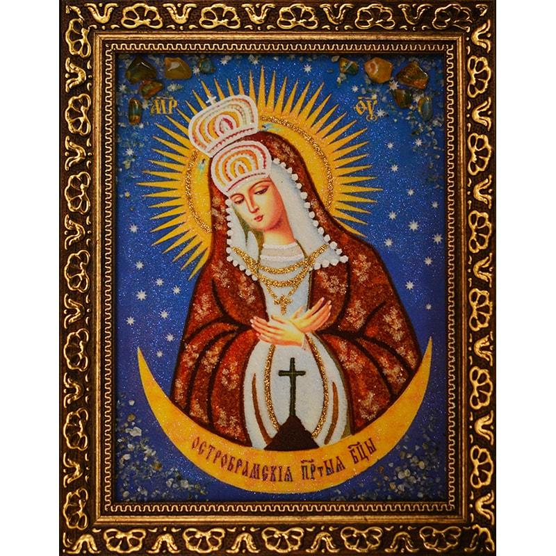 Икона из янтаря Остробрамская Богородица