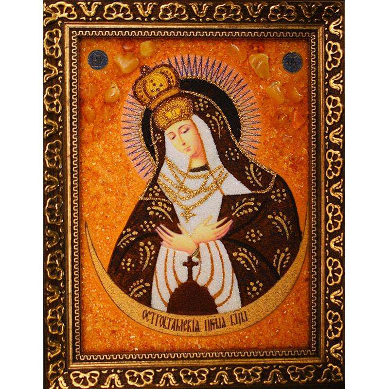 Икона с янтарем Остробрамская Богородица