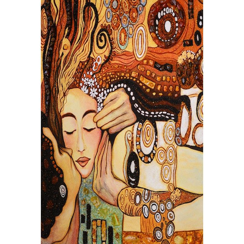 Картина с янтарем Густав Климт Поцелуй