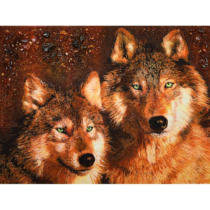 Унікальна картина з бурштину в подарунок Вовк і Вовчиця