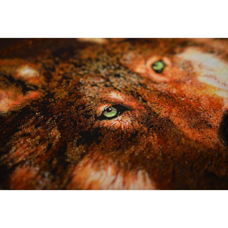 Уникальная картина из янтаря в подарок Волк и Волчица