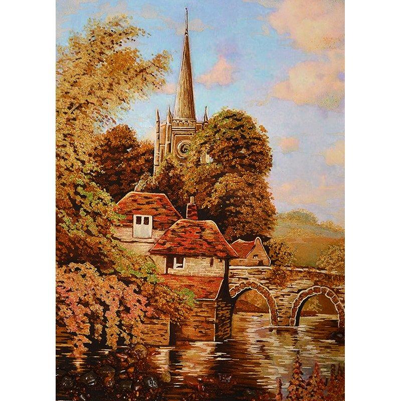 Картина в подарок из янтаря Альфред Брински Английский пейзаж