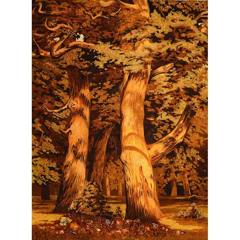 Картина из янтаря в подарок Иван Шишкин Дубовая роща