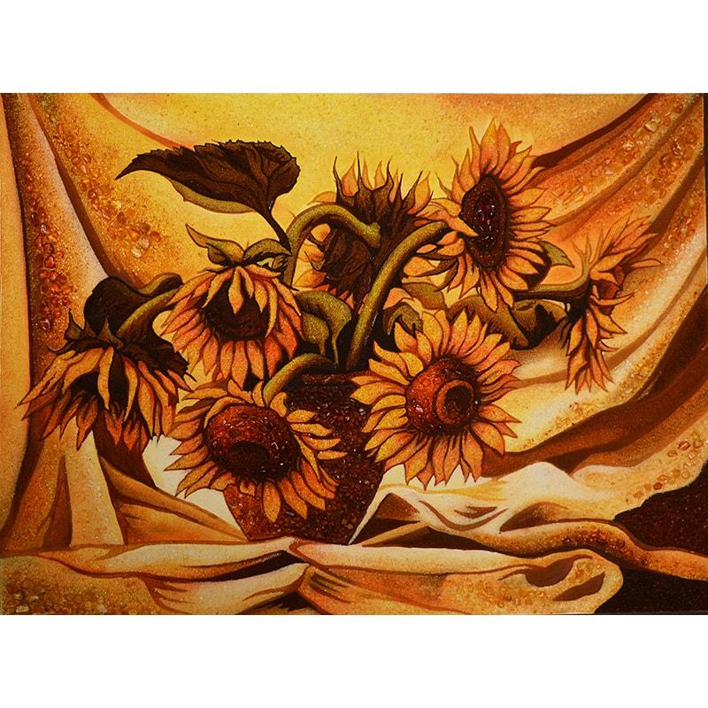 Картина з бурштину Соняшники