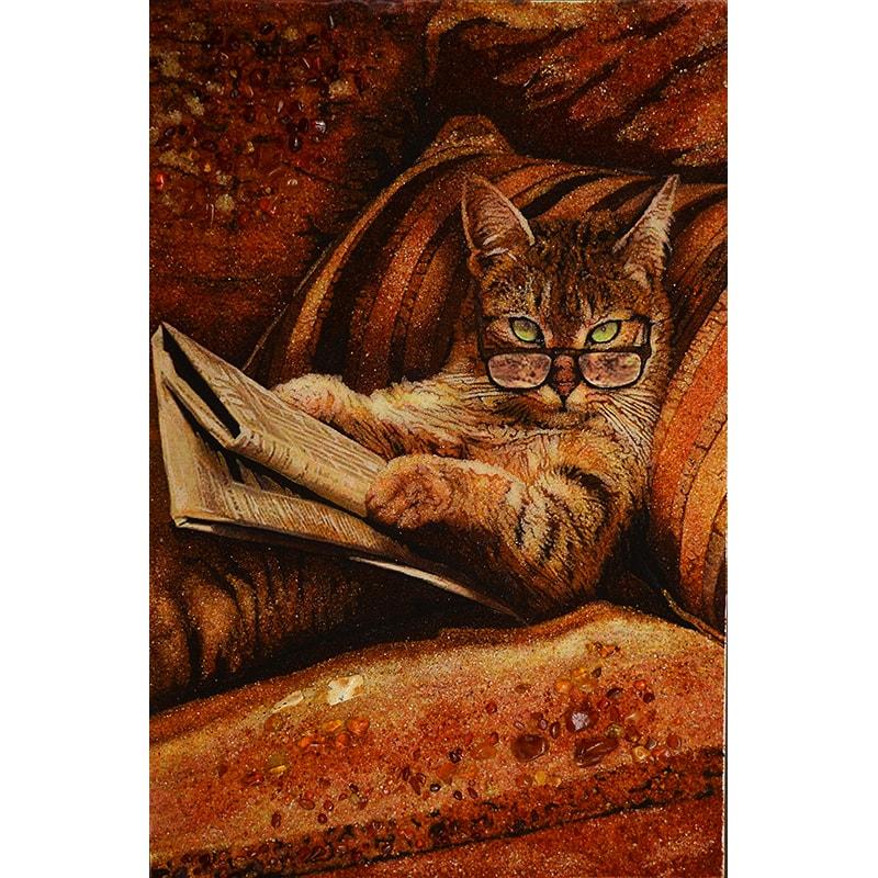 Картина з бурштину Розумний Кіт