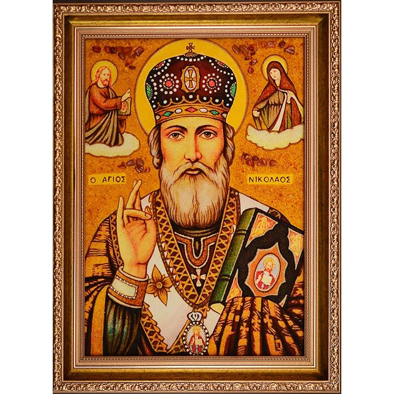 Ікона з янтаря Святий Миколай Чудотворець