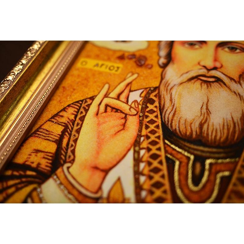Икона из янтаря Святой Николай Чудотворец