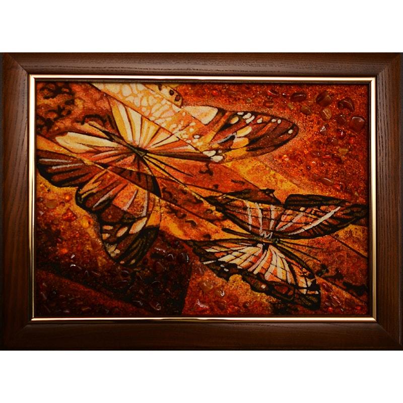 Картина из янтаря в подарок Бабочки