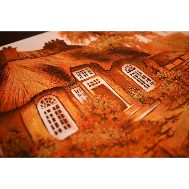 Картина з бурштину в подарунок Будиночок біля ставка