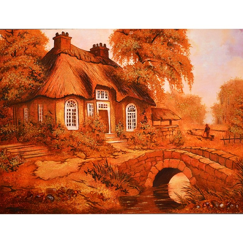 Картина из янтаря в подарок Домик у пруда