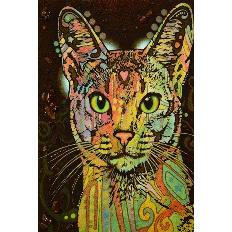 Авторская картина из янтаря Радужный кот