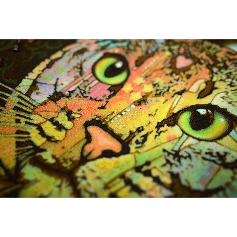 Авторська картина з бурштину Веселковий кіт