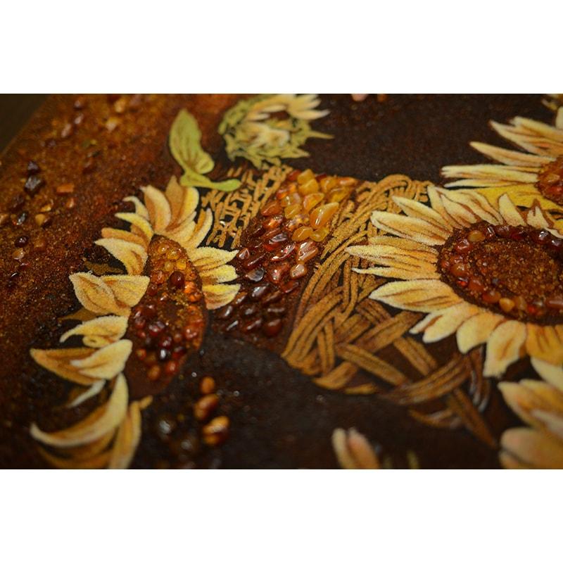 Картина с янтарем в подарок Подсолнухи в вазе
