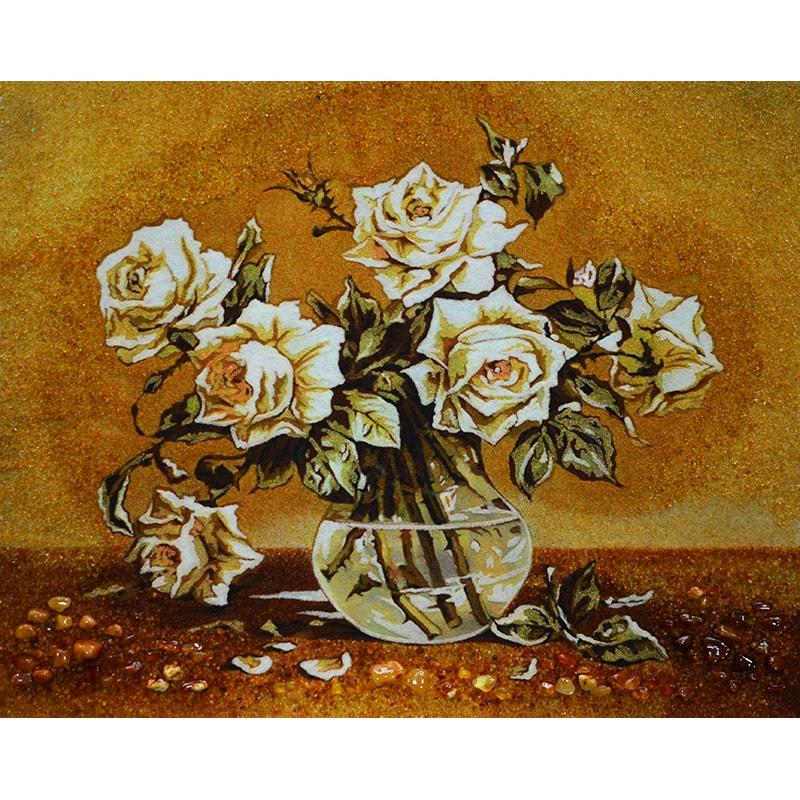 Натюрморт из янтаря Белые Розы