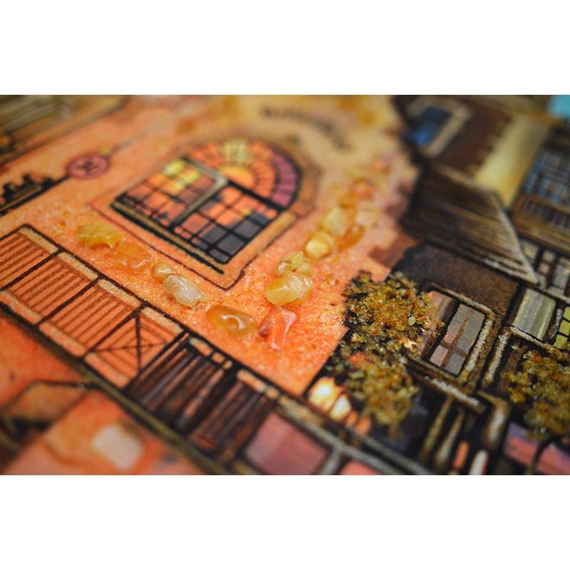 Пейзаж из янтаря в подарок Вечерний Дрезден