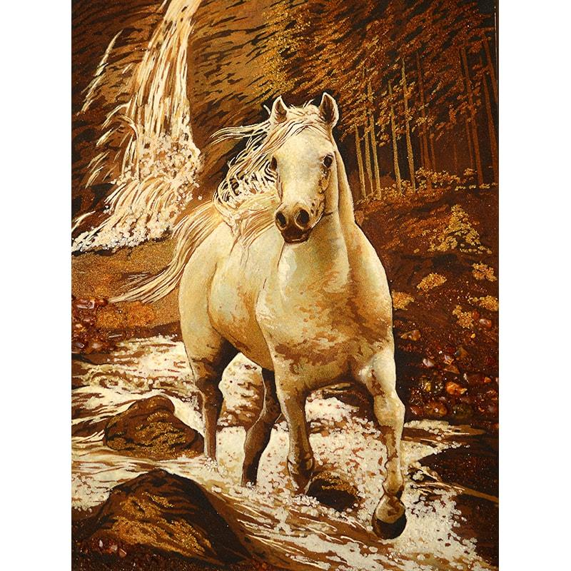 Картина з бурштину Білий кінь