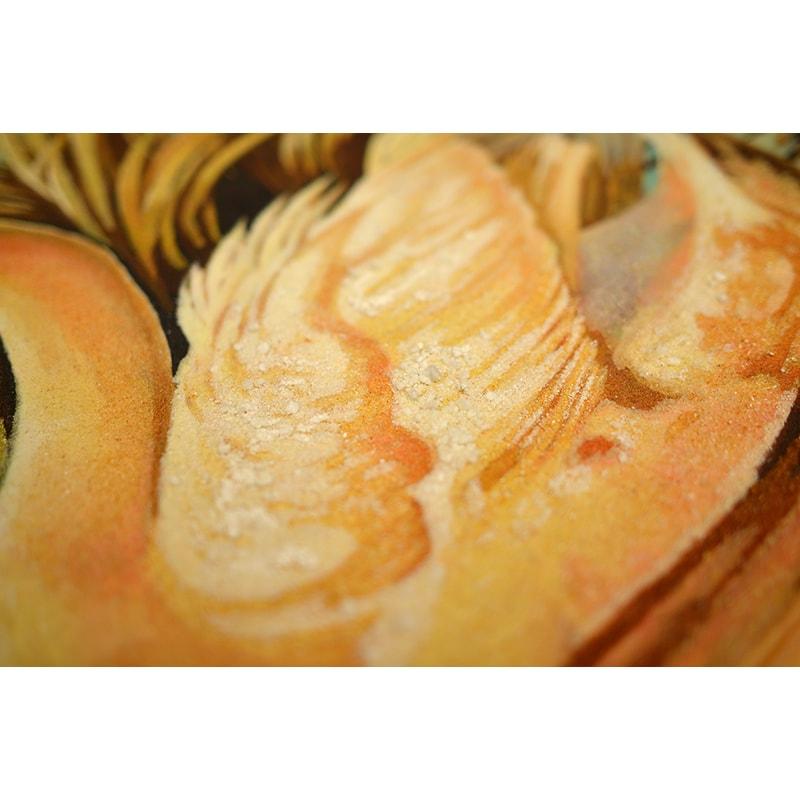 Авторская картина из янтаря Лебединая верность