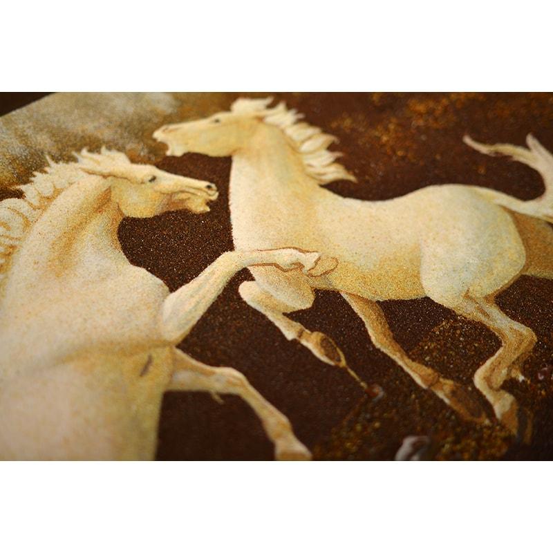 Авторская картина из янтаря Белые лошади