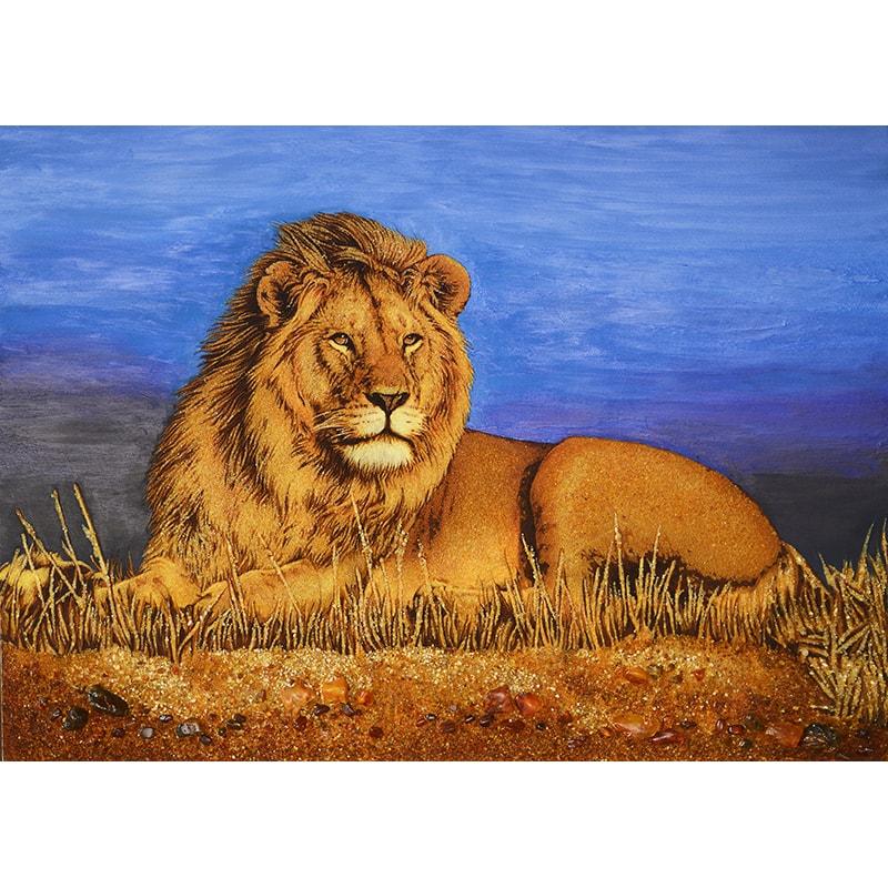 Авторская картина из янтаря в подарок Лев